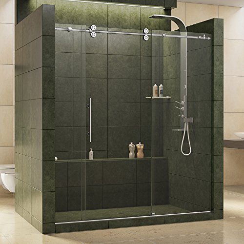 DreamLine Enigma 68-72 in. W x 79 in. H Fully Frameless Sliding Shower Door in Polished Stainless Steel, 1/2 in. Glass, SHDR-60727912-08