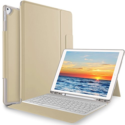 IVSO Apple New iPad Pro 12.9 2017 Case with Keyboard Ultra-Thin One-Piece Keyboard Stand Case Cover for Apple New iPad Pro 12.9 2015 and 2017 Version Tablet (Gold)