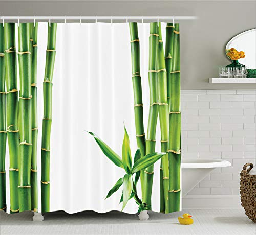 Ambesonne Asian Shower Curtain Decor, Branches of Bamboo Board Stalk Tropics Plants Greenery Feng Shui Natural Lush Image, Polyester Fabric Bathroom Shower Curtain Set with Hooks, Green White