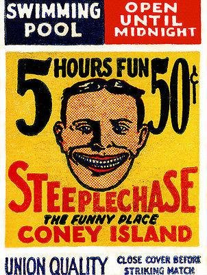(1920's - Steeplechase - Coney Island - New York - Matchbook Advertising Poster)