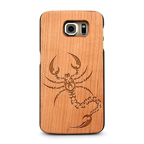 Laser Engraved Wood Case iPhone Galaxy Animal Celtic Tribal Scorpion Tattoo Galaxy Note 8 Cherry (Tribal Scorpion Tattoo)