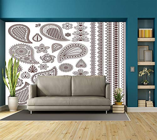 Large Paisley Wallpaper - Large Wall Mural Sticker [ Henna,Collection of Oriental Ornaments with Arabesque Art Paisley Elements Graphic Decorative,Dark Brown White ] Self-adhesive Vinyl Wallpaper / Removable Modern Decorating