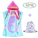 100% Cotton Hoode Beach Bath Towels for Girls,Mermaid Princess Kids Large Poncho with a Unicorn Draw String Bag (Mermaid 23.6 x 39.4'')