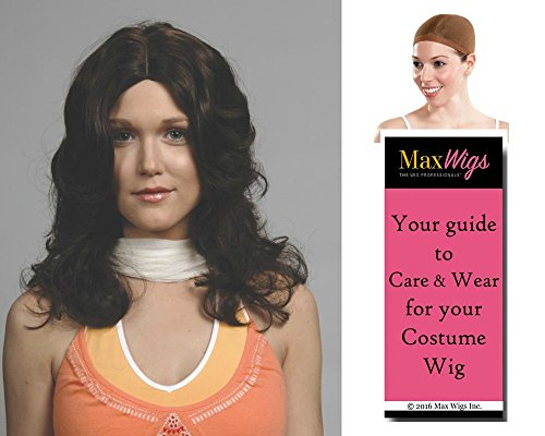 Jaclyn Angel Color Dark Brown - Enigma Wigs Smith Charlie Jacquie 70s Long Wavy Bundle w/Cap, MaxWigs Costume Wig Care Guide