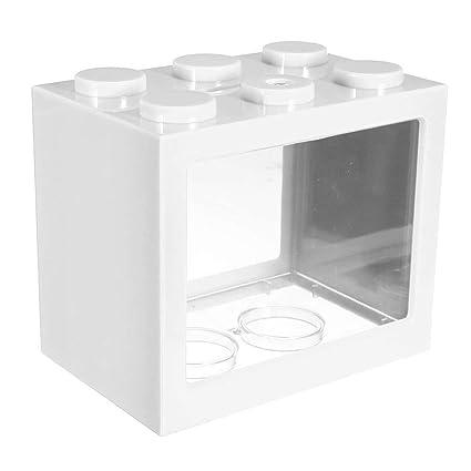 Dxlta Fish tank Mini iluminación LED Transparente Pecera Ornamento Oficina del Acuario y Hogar Decoración