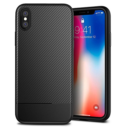 iPhone X Case, iPhone 10 Phone Case Carbon Fiber Texture TPU Ultra Thin Lightweight Flexible Cover Premium Soft Silicone Shockproof Anti-Scratch Cover for Apple iPhone X (5.8