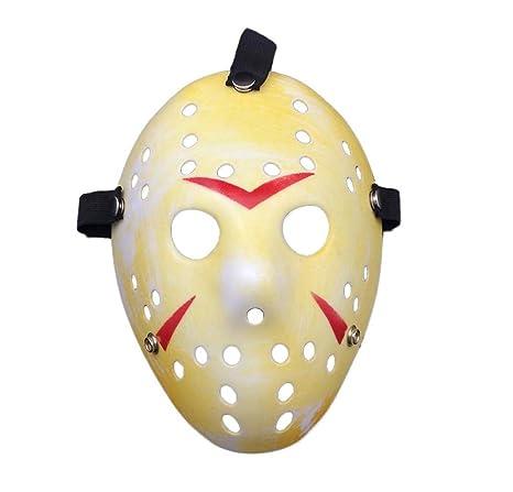 Ultra resplandor en el vestido de fantasía de color oscuro disfraces de hockey de horror máscaras adultos PVC calidad máscara con elástico correa cara ...