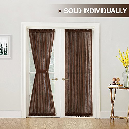 Linen Textured French Door Panel Curtains 72 inches Long French Door Curtains Sheer French Door Panels and a Bonus Tieback, Brown, 1 Panel (Brown Curtains Sheer)