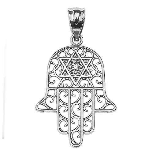 14k White Gold Hamsa Hand With Star of David Diamond centered Pendant