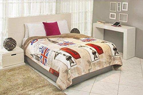Maxi Mink Luxurious London UK Reversible Comforter Big Ben Telephone Booth Box (Twin) ()