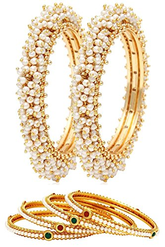 Crunchy Fashion Traditional Indian Jewelry Pearl Polki Bangle Set for Women