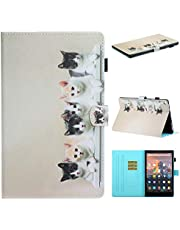 Ostop Compatible with All-New Amazon Fire HD 10 Tablet 2019/2017/2015 Case,Slim Stand Folio Cover PU Leather Flip Wallet Smart Case with Auto Sleep/Wake and Pencil Holder,Black White Cats