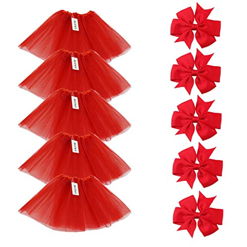 BGFKS 5 Pack Tutu Skirt for Girl Ballet Dance Costume Dress up Princess Party Girl Tutus with Butterfly Headdress 12 Colors Age 2-8(Red) -