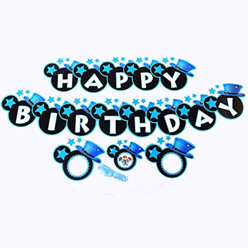 Boys Cute Mickey Happy Birthday Banner, Mouse Style Party Decorations, Party Supplies, Baby Shower (Blue) -
