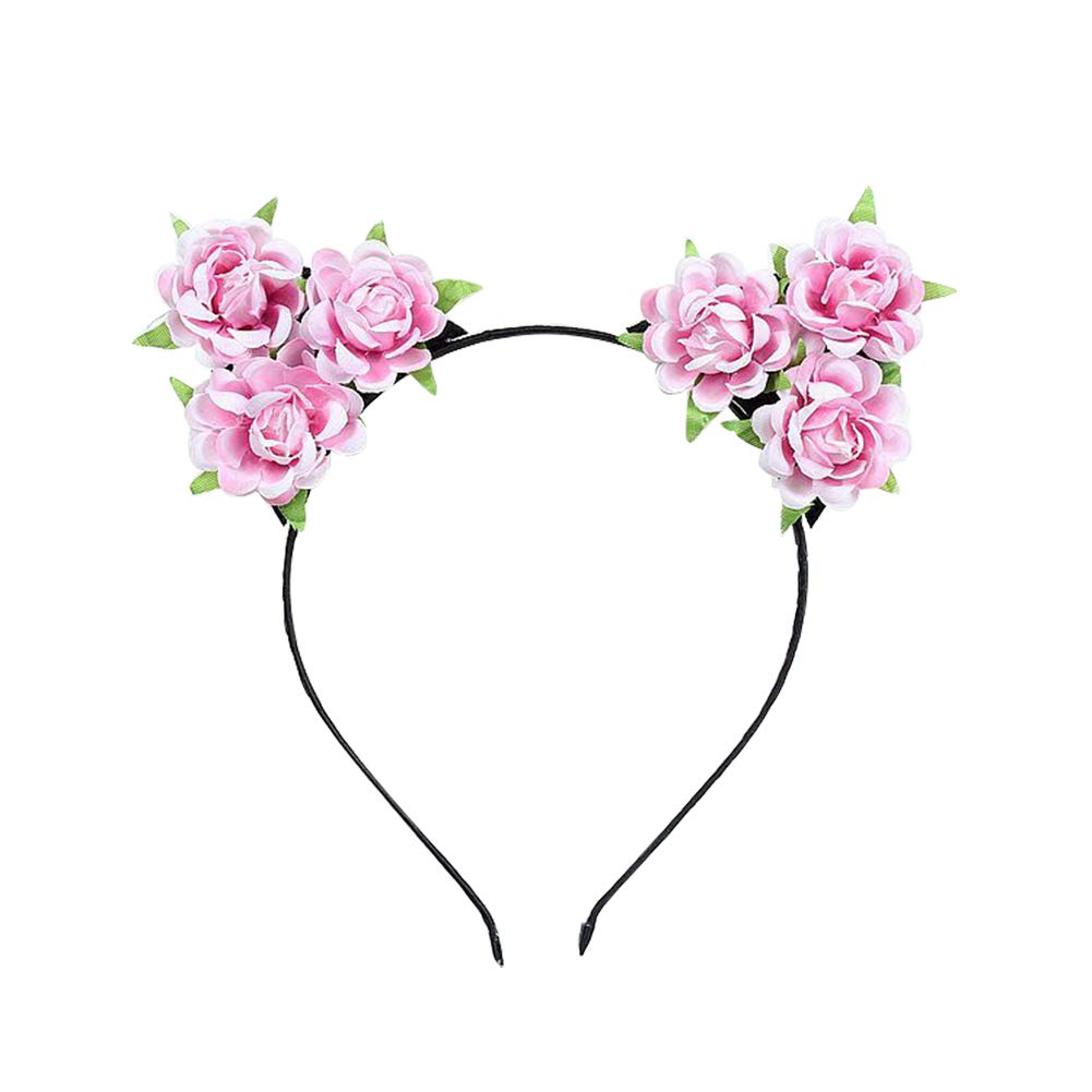 Black Sparkly Cat Ears on a Headband with Pink Fabric Flowers Flower Girls