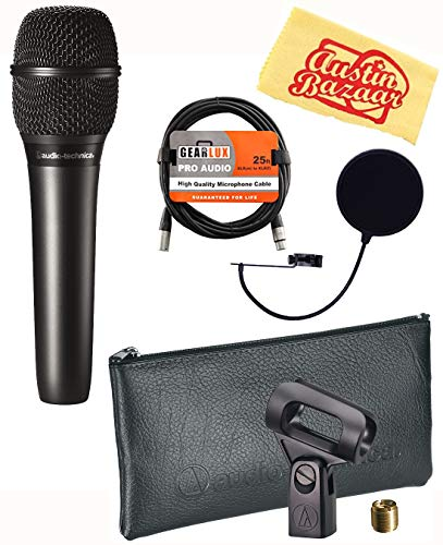 Audio-Technica AT2010 Cardioid Condenser Handheld Microphone Bundle with Pop Filter, XLR Cable, and Austin Bazaar Polishing Cloth Audio Technica Recording Package