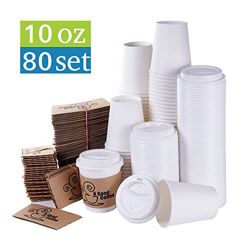 TashiBox 10 oz Hot Drink Paper Cups with Lids and Sleeves, 80 sets