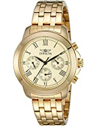 Invicta Womens 21654 Specialty Analog Display Swiss Quartz Gold-Plated Watch