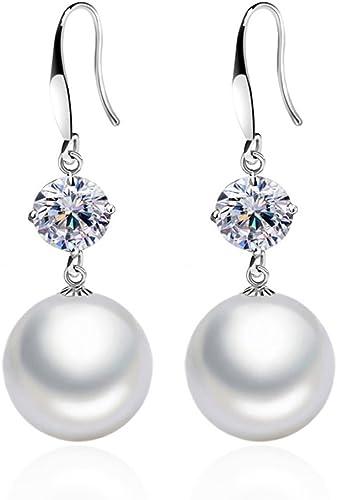 Pendientes mujer de plata de ley 925 pendientes largos con colgantes de perlas