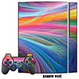 MightySkins Protective Skin Decal Cover Sticker for Playstation 3 Console + two PS3 Controllers - Rainbow Wave