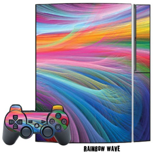 Mightyskins Protective Skin Decal Cover Sticker Compatible with Playstation 3 Console + Two PS3 Controllers - Rainbow Wave (Ps3 Controller Rainbow)