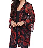 TINHAO Women's Skull Print Sheer Loose Kimono Cardigan Tops Blouse Cover up (XXXL)