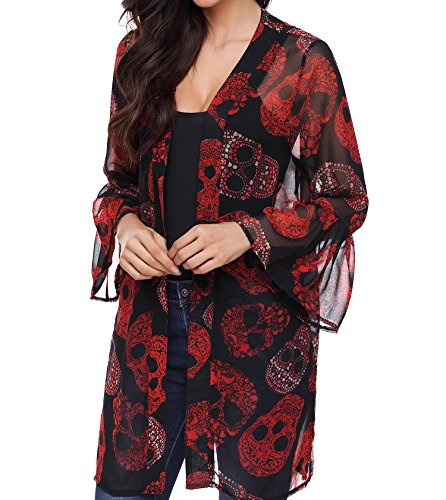 TINHAO Women's Skull Print Sheer Loose Kimono Cardigan Tops Blouse Cover up ()