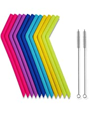 Tifanso Straws for 30 oz Tumblers RTIC/Yeti - Tifanso Reusable Drinking Straws - Extra long Flexible Straws with Cleaning Brushes - Bpa-free - No Rubber Tast