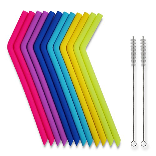 Reusable Straws - 14 Pieces Big Reusable Silicone Drinking Straws Including Cleaning Brushes Compatible for 30 oz Tumblers RTIC/Yeti, Extra Long Flexible Bendy Straw, BPA Free by Tifanso