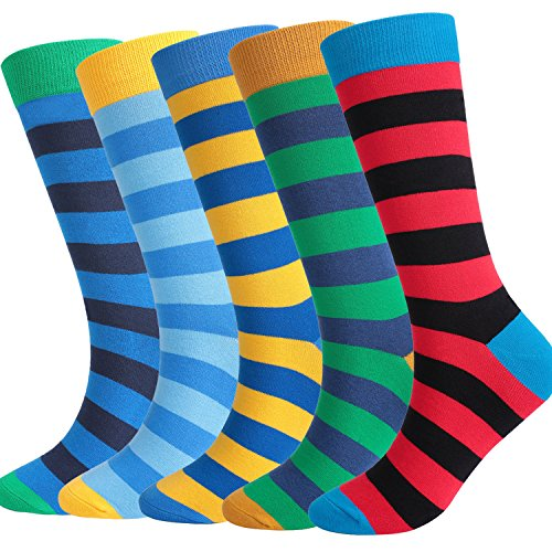 DRASEX Men's Dress Socks Colorful Striped Pattern Combed Cotton Casual Crew - Socks Football Striped