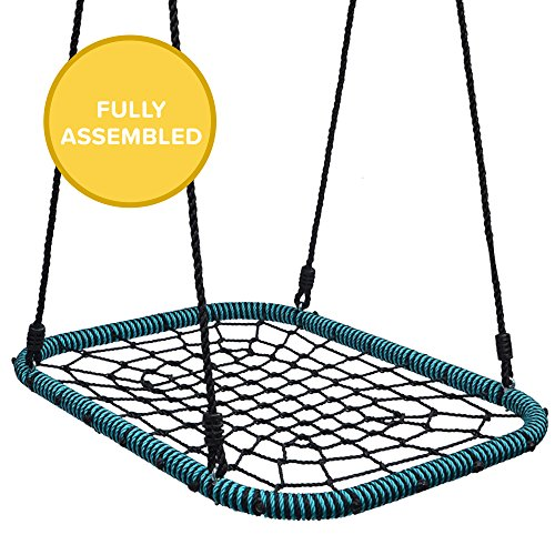 Play Platoon Spider Web Tree Swing Rectangle - 40 x 30 inch, Fully Assembled, 600 lb Weight Capacity, Easy to ()