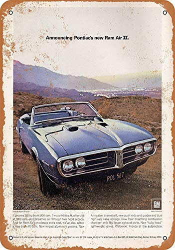 Tengss 8 x 12 Metal Sign - 1968 Pontiac Firebird Ram Air II - Vintage Look - Air Ram Firebird