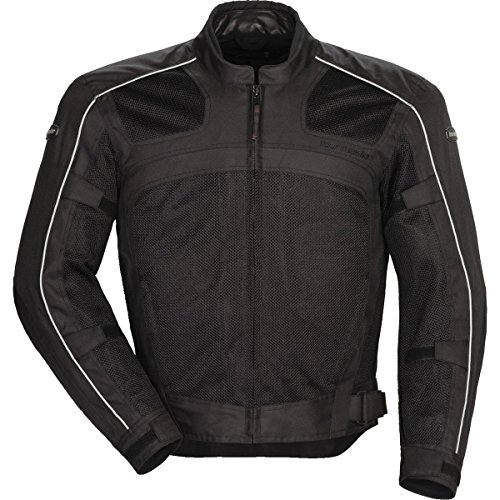 (Tour Master Draft Air Series 3 Men's Textile Sports Bike Racing Motorcycle Jacket - Black/Black/Large)