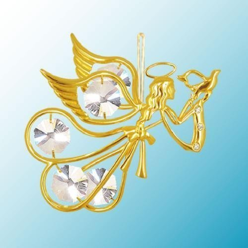 (24K Gold Plated Hanging Sun Catcher or Ornament..... Flying Angel Holding a Dove with Clear Swarovski Austrian Crystal)
