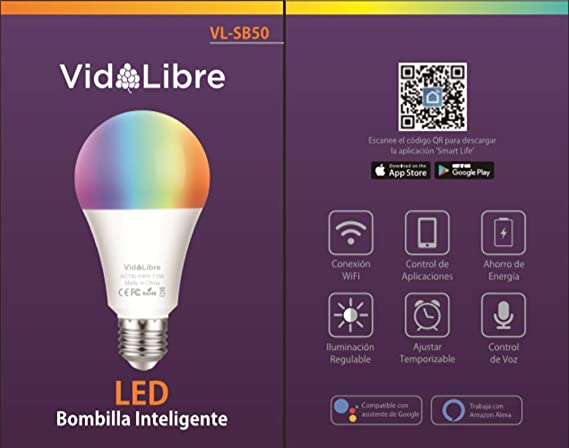 VidALibre Bombilla LED Inteligente - Bombilla WiFi de Multicolor con Intensidad Regulable, Control con Alexa