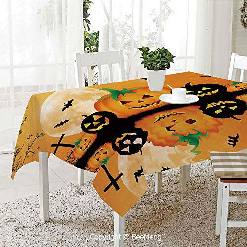 Large dustproof Waterproof Tablecloth,Family Table Decoration,Halloween Decorations,Spooky Carved Halloween Pumpkin Full Moon with Bats and Grave Lake,Orange Black,70 x 104 inches ()