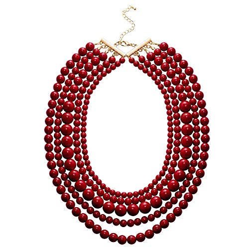 JANE STONE Fashion Faux Turquoise Necklace Acrylic 5-Row Multi-Layered Collar Women (Red) ()