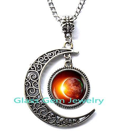 Crescent moon Solar Eclipse Necklace, Space Jewelry, filigree crescent moon charm, Galaxy Pendant, Eclipse Necklace, Sun Moon Lunar Jewelry ()