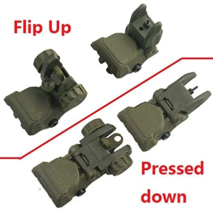 Hunting Scope Mounts & Accessories Polymer Flip-up Back-down Front And Rear Sight Complete Set,OD Green
