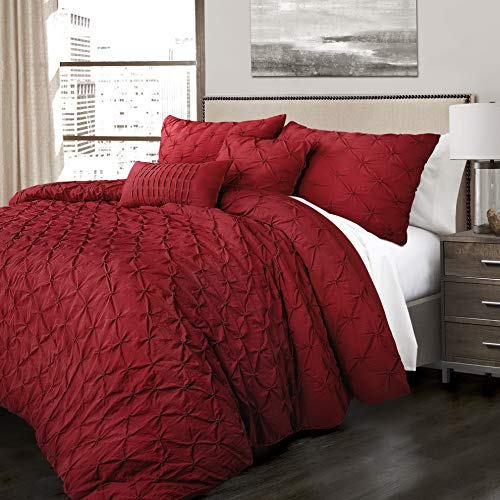 Hemau Premium New Soft Ravello Pintuck 5 Piece Comforter Set, King, Red   Style 503194446