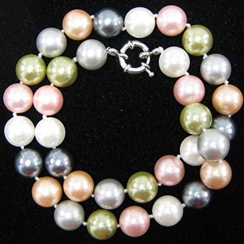 12mm Multicolor Shell Pearl Round beads Necklace 18'' S1