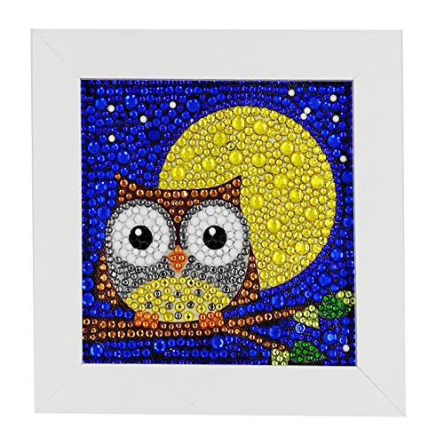 3D Diamond Painting Kit for Kids, Full Drill Kits with Wooden Frame Owl 6x6