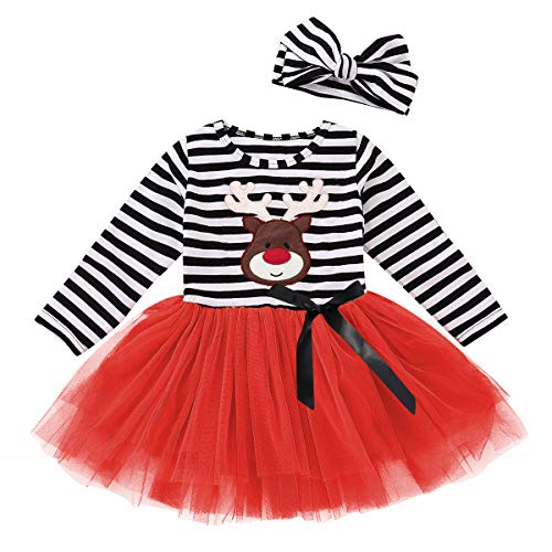 Baby Halloween Outfits Kids Girls Pumpkin Print Long Sleeve Dress Striped Skirts Thanksgiving Day Clothes (2T/3T, Deer)