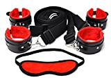 Deluxe Adjustable Furry Handcuffs and Ankle Restraint kit for the bed for BDSM bondage cosplay - By 50 Shades of play