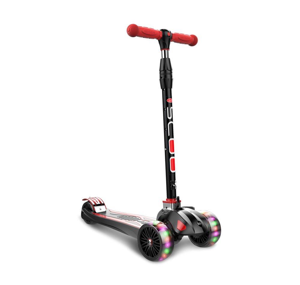 Scooter / Juguetes para Niños/patineta Flash de 2 a 16 Años 3 Ruedas para Bebés/Plegado/Elevación/Cuatro Ruedas Ajustables/de Gran Tamaño (Color : C)