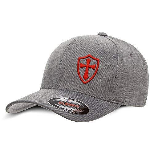 (Crusader Knights Templar Cross Baseball Hat Small/Medium Red on Grey)