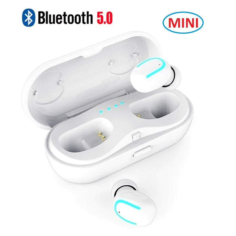 4563cbc9fd7 Bluetooth Earbuds True Wireless Headphones HiFi 3D Stereo Deep Bass Mini TWS  Bluetooth 5.0 Earphones Noise Cancelling Handsfree Headset with MIC for  Apple ...