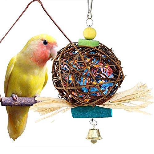 (LPLED Bird Chewing Toys for Parrots Natural Rattan Ball Cage Toy Preening Toy for Bird Parrot African Greys Budgie Cockatiel Parakeet Lovebird Cage Toy)