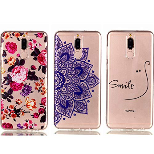 - Huawei Mate 10 Lite Case - 3 Pcs Shock-Absorption TPU Rubber Skin Bumper Case Transparent Crystal Clear Cute Colorful Print Patterns Ultra Slim Protective Cover by AIIYG DS - Floral