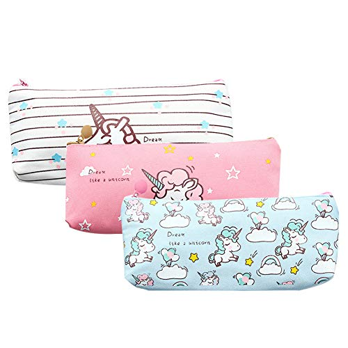 Cute Girl Halloween Makeup (Unicorn Pen Bag Holder,Makeup Bag Canvas Zipper Pouch for girls Stationery Purse Cute Wallet Cosmetic Bags Travel Small Case Sets)